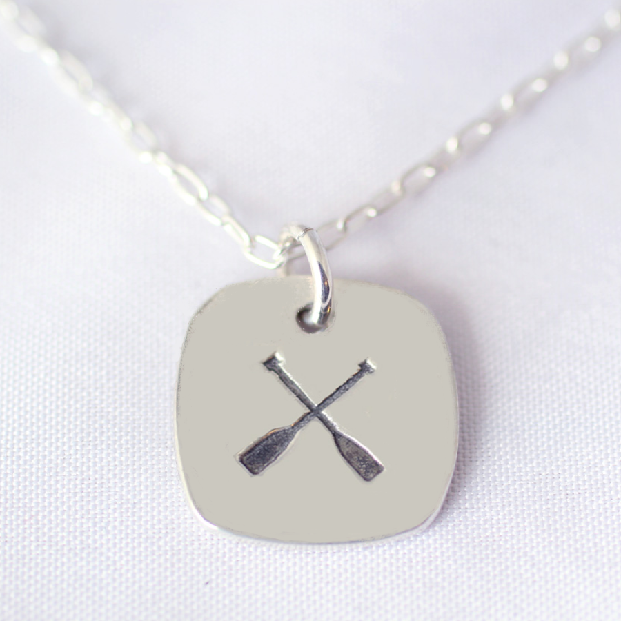 large square crossed paddles dragon boat necklace